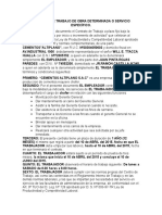 Contrato de Trabajo de Obra Determinada o Servicio Específico