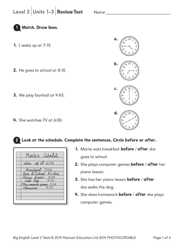 299166630 Longman Pearson Big English Level3 Revision Test