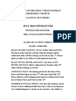 Nativity of the Holy Virgin Church - Newsletter - July, 2016