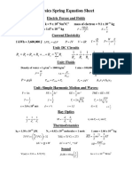 spring equation sheet