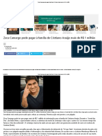 Zeca Camargo pode pagar à família de Cristiano Araújo mais de R$ 1 milhão