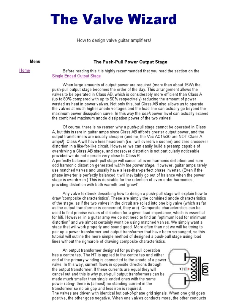 The Push-Pull Power Output Stage pdf | Amplifier | Vacuum Tube