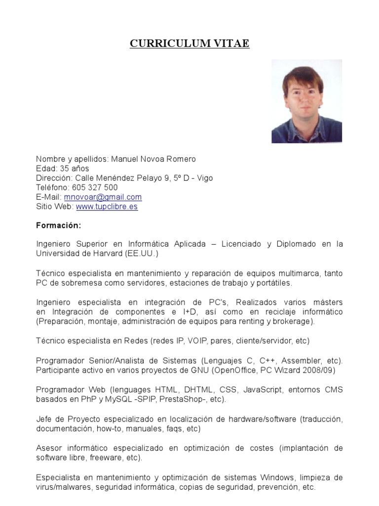 Currículum Vitae - Informática - Manuel Novoa - Mayo 2009