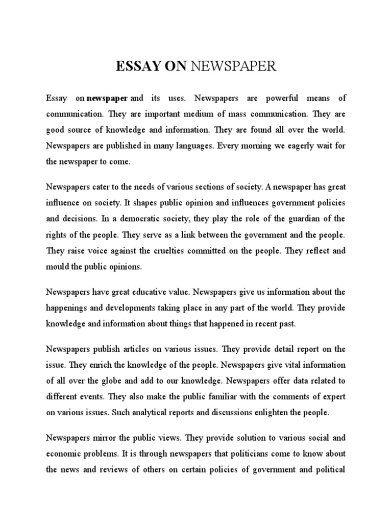 Cause And Effect Essay On Depression  Words To Write A Definition Essay On also Stone Angel Essay Essay On Newspaper  Newspapers  Public Opinion One Flew Over The Cuckoos Nest Essay