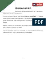 MBA Project Report on Kotak Life Insurance