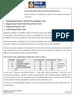 Notice Written Test Direct Recruitment Specialist Officers 2014 15