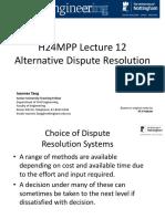 1415 H24MPP Lecture 12 - Alternative Dispute Resolution