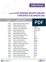 Listado de Docente Jubilado - Junio 2016 - Notilogía
