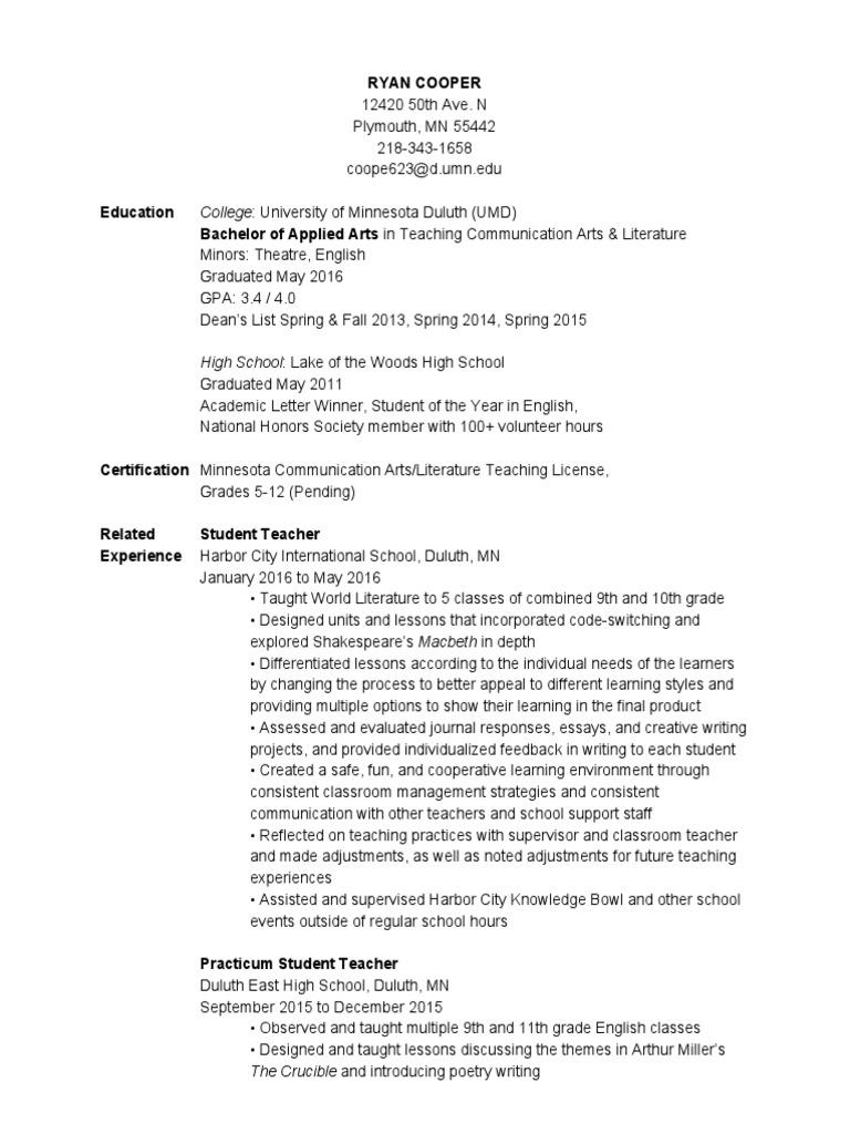 Ryancoopereducationresumejuly2016 Minnesota Teachers