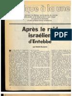 Après le raid israélien d'Entebbe, article de Habib Boularès. Jeune Afrique n°810 du 16 juillet 1976