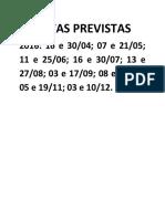 Datas Previstas de Aulas 2016