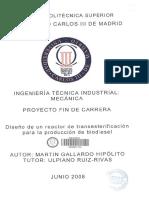 Diseño de Un Reactor de Transesterificación