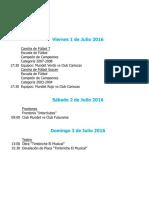 Actividades Fin de Semana 1, 2 y 3 de Julio 2016