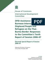 DFID 2006-7 - Assistance to Burmese IDP and Regufee on the Thai-Burma Border