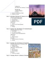 Istanbul 2016 Itinerary