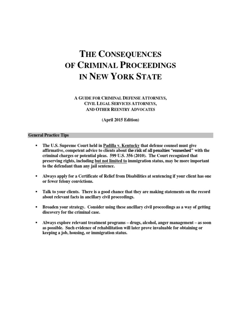 Consequences Of Criminal Proceedings In Ny April 2015 Criminal