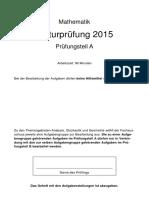 Abiturpruefung Mathematik 2015 Pruefungsteil A