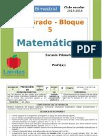Plan 1er Grado - Bloque 5 Matemáticas