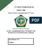 34278379 Production Portfolio Sample MMC Guru Jambheshwar University of Sciene and Technolgy Hisar