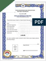 Format Ijazah SMP Sederajat 2016