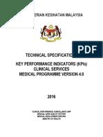 Tech Specs KPI Perkhidmatan Klinikal Ver 4.0 2016