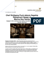 Chef Wolfgang Puck Debuts Flagship Restaurant Spago at Marina Bay Sands