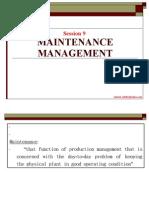 Session 9 Maintenance Management