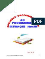 Document d'Accompagnement Au Programme de 1AM 2010 2011