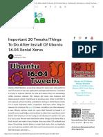 Important 20 Tweaks to Do After Installing of Ubuntu 16