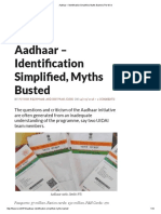 Aadhaar – Identification Simplified, Myths Busted _ the Wire