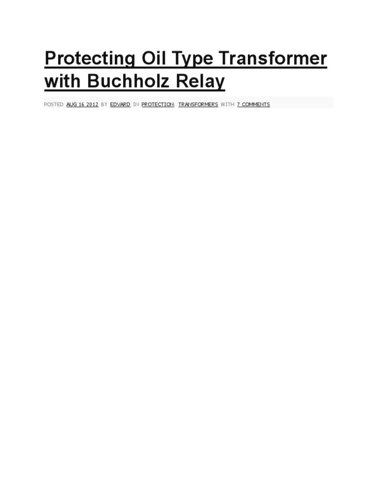 Buchholz Relay Transformer Wiring Diagram Control Panel Schematic Malibu Protecting Oil Type With Buoyancy