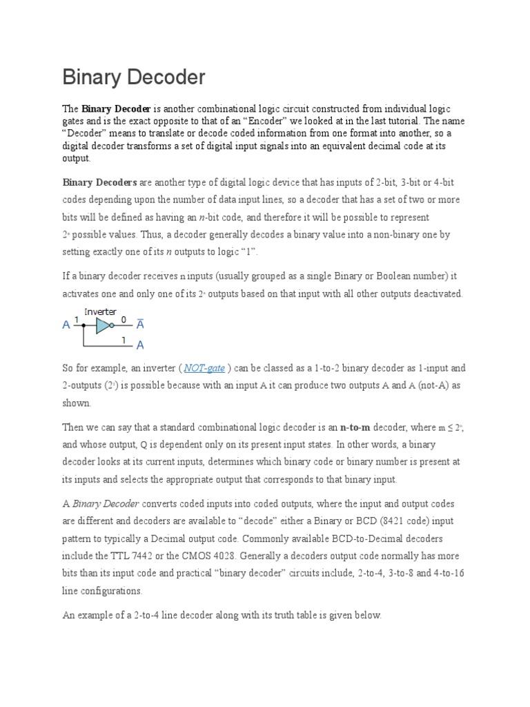 Binary Decoder Computer Data Storage Input Output 4 Circuit 8 Bit To Decimal Converter 2