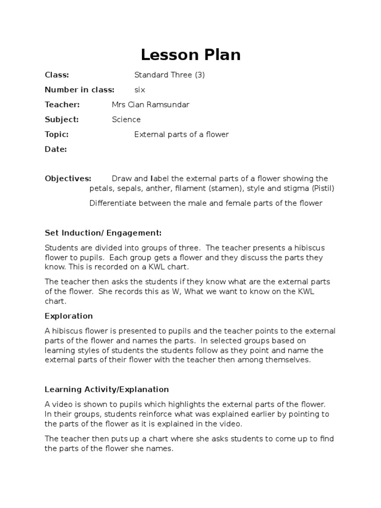 Lesson Plan Science Parts Of A Flower Flowers Lesson Plan