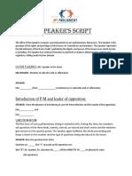 Speaker's Script