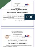 Certificate of Appreciation-earthquake