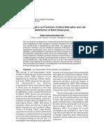 Job Characteristics as Predictors of Work Motivation and Job