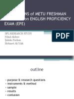 Epe Perceptions of Metu Freshmen Students
