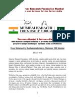 ORF - Mumbai Karachi Friendship Forum Press Release 28 6 2016