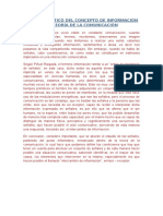 Análisis Crítico Del Concepto de Información en Teoría de La Comunicación