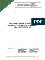 Ehs-p-43 Procedimiento Para El Reporte de Accidentes e Incidentes de Trabajo Para Contratistas Lap