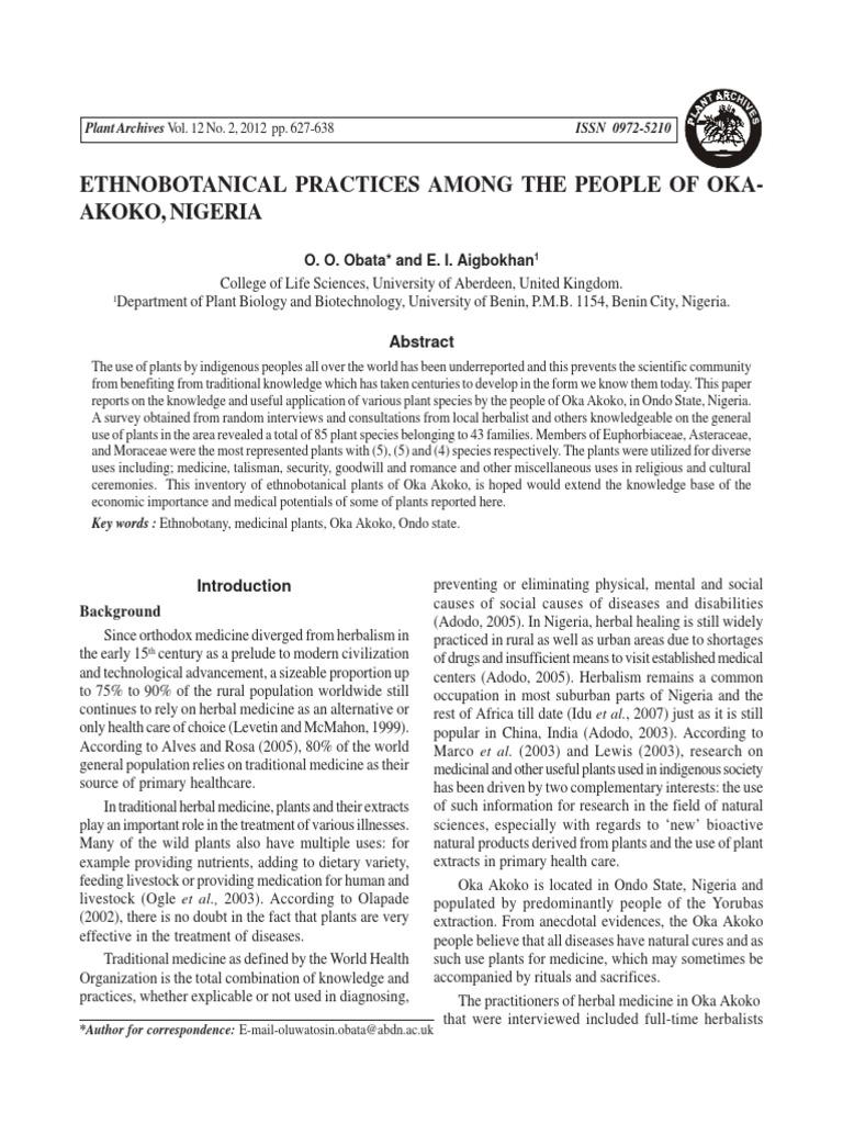 Ethnobotanical Important Plants Among Th   Herbalism   Alternative
