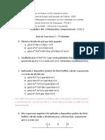 Lista de Exercícios - 3a Unidade (Polinômios)