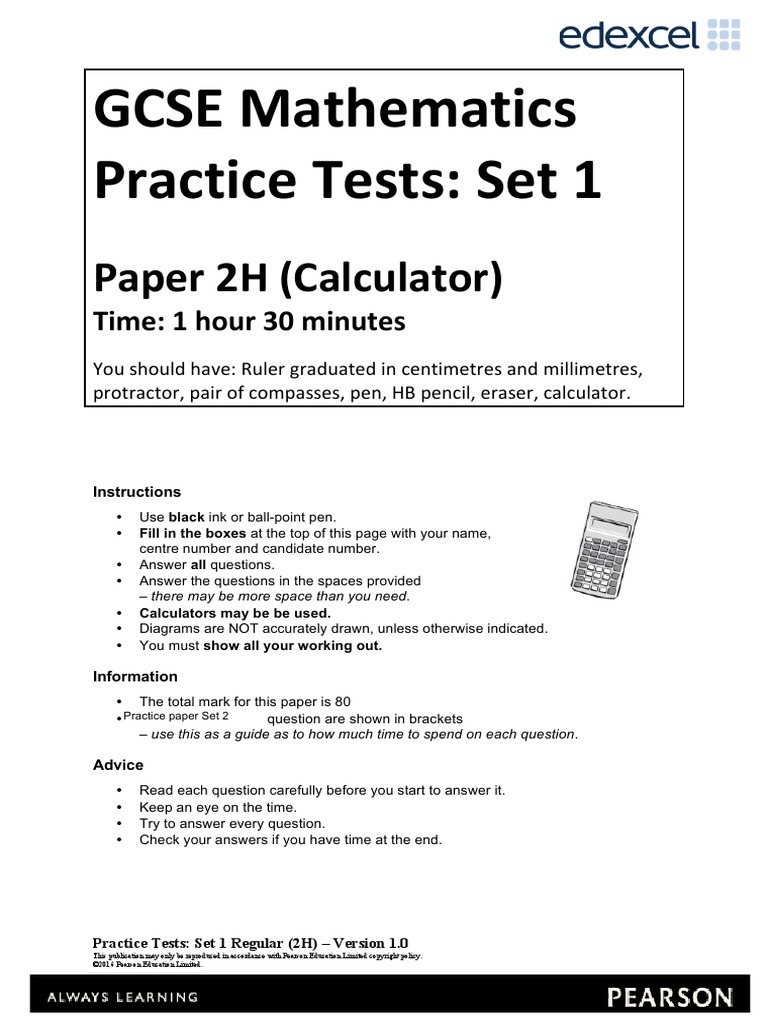 practice set 4 paper 1 h Mathematics αβ practice papers - set 1- teacher booklet gcse practice papers set 4 paper 3 higher - mark scheme  8300/3h  version 10.