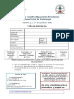 Ficha Inscripción VI CONDEK 2016