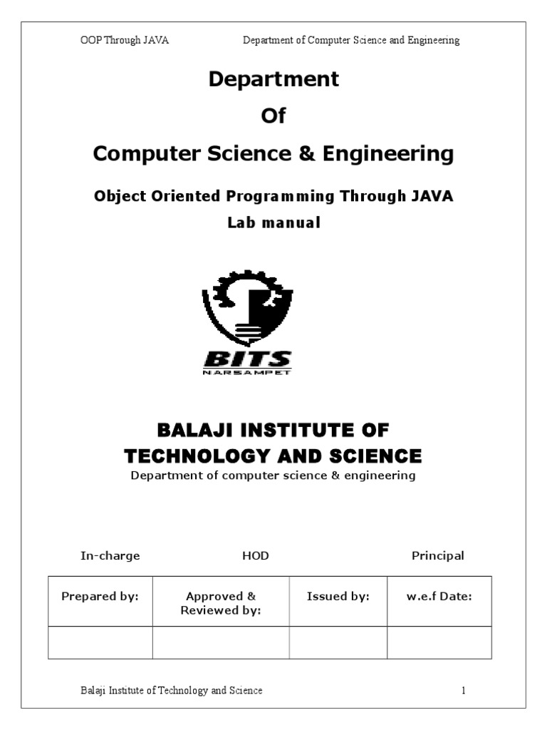 Object Oriented Programming Labmanual Jntu | Integer (Computer Science) |  Computer File