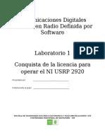 Conquista de la licencia para operar el NI USRP 2920
