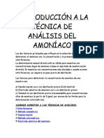 Técnicas de Analísis (Amonio en Aguas)
