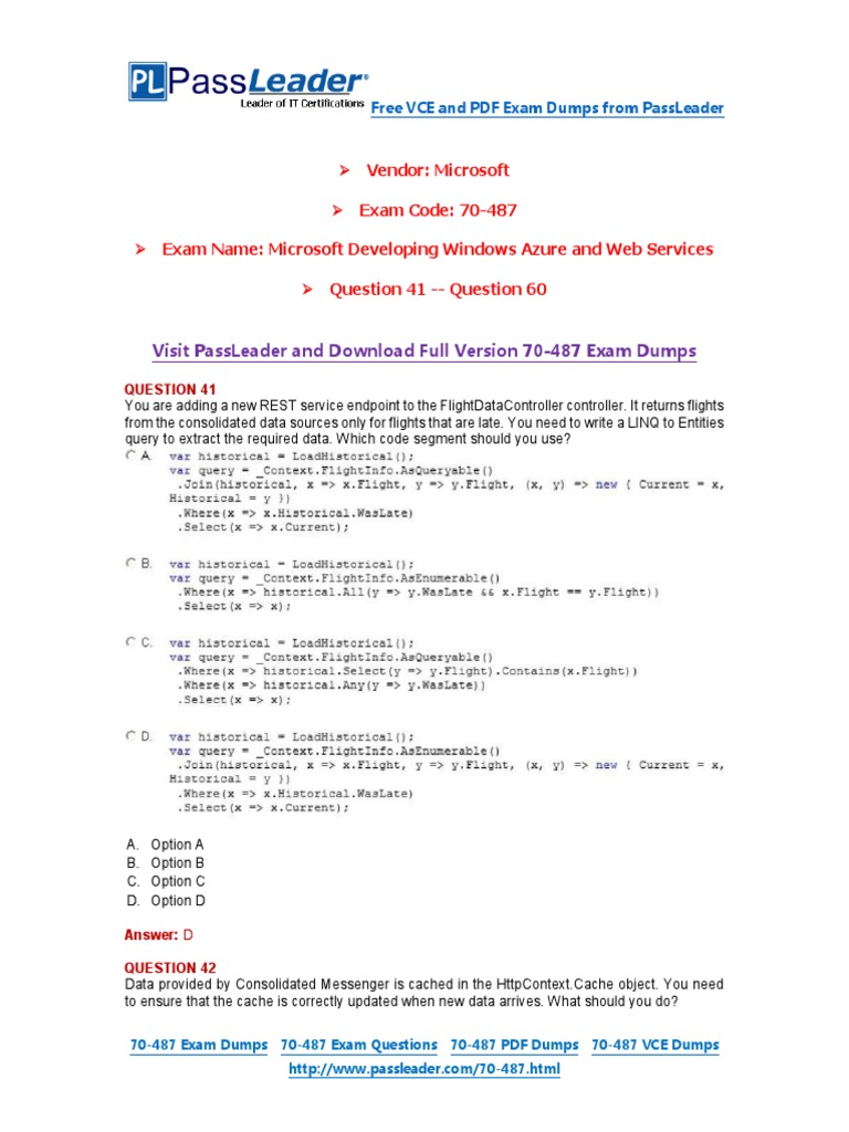 70 487 exam dumps with pdf and vce download 41 60 portable 70 487 exam dumps with pdf and vce download 41 60 portable document format entity framework xflitez Choice Image