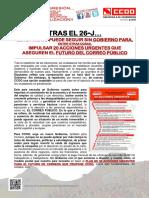 2256634-Tras La Repeticion de Elecciones Generales, CCOO Exige 20 Acciones Urgentes Para El Futuro de Correo
