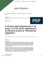 A 40 Años Del Programa Del 1º de Mayo - CGT de Los Argentinos